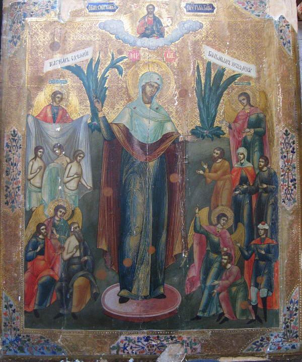 Скорбящая с грошиками икона Б.М. чудотворная местночтимая Казанская церковь Пушкинских Гор